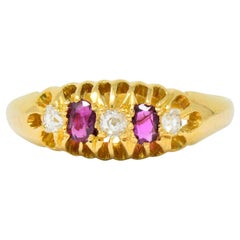 Victorian H.W.L. 0.40 Carat Diamond Ruby 18 Karat Gold Ring