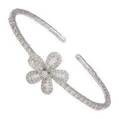 Diamond Baguette White Gold Floral Charm Clip Bracelet