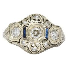 Art Deco 0.60 Carat Diamond Sapphire 18 Karat White Gold Ring