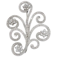 Diamond Floral Brooch and Pendant