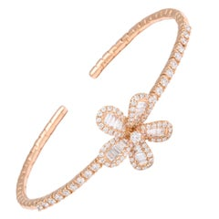 Diamond Baguette and Rose Gold Floral Charm Clip Bracelet