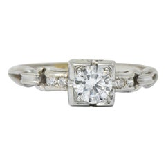 Retro 0.40 Carat Diamond 18 Karat White Gold Engagement Ring
