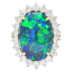 Exceptional 1960s Black Opal Diamond 14 Karat Gold Ring GIA
