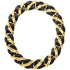 Yellow Gold and Ebony Wood Curb-Link Necklace