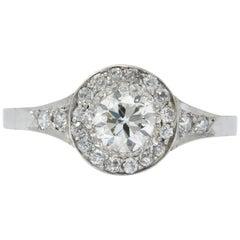 Art Deco 1.10 Carat Diamond Low Profile Platinum Engagement Ring