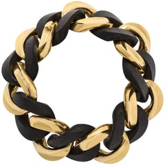 Yellow Gold and Ebony Wood Curb-Link Bracelet