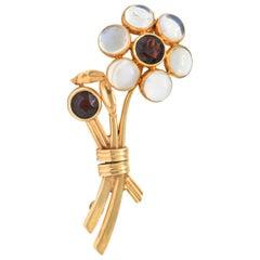 Church & Company 1.50 Carat Garnet Moonstone 14 Karat Rose Gold Flower Brooch