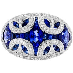 2.89 Carat Baguette and Marquise Blue Sapphire 0.48 Carat Diamond Cocktail Ring