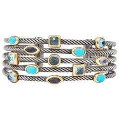 David Yurman Turquoise Blue Topaz Iolite Sterling Silver 18 Karat Gold Cuff