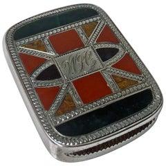 Silver Agate Vesta Box Chester, 1891