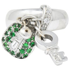 Salavetti Diamond Brown Diamond Tsavorite 18 Karat White Gold Charm Ring