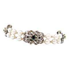 Bracelet Two Strands of Pearl, Gold and Silver, Sapphires and Diamonds, 1980