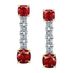 2,01 Karat Rubin und Diamant Tropfen Ohrringe