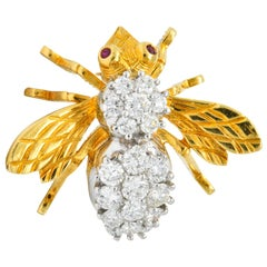 Tiffany & Co. Retro 1.95 Carat Diamond Ruby 18 Karat Two-Tone Gold Bee Pin