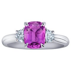 2.22 Carat Cushion Pink Sapphire and Diamond Ring