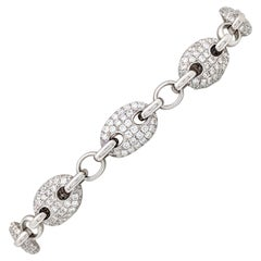 18 Karat White Gold 6.88 Carat Gucci Link Diamond Tennis Bracelet