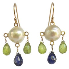 Marina J White Pearl Earrings with Iolite and Peridot Brioletts  and 14 K Gold