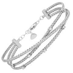 White Diamond and Gold Italian Rope Finish Three-Row Fashion Bangle Bracelet