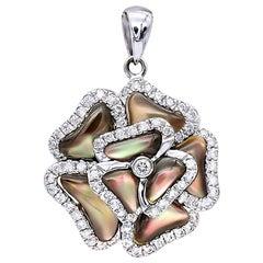 3D Silver Gray Mother of Pearl Rose Pendant 0.37 Carat Diamond 14 Karat Gold