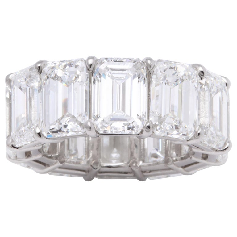 Emerald Cut Diamond Eternity Band GIA Certified 18.51 Carat For Sale