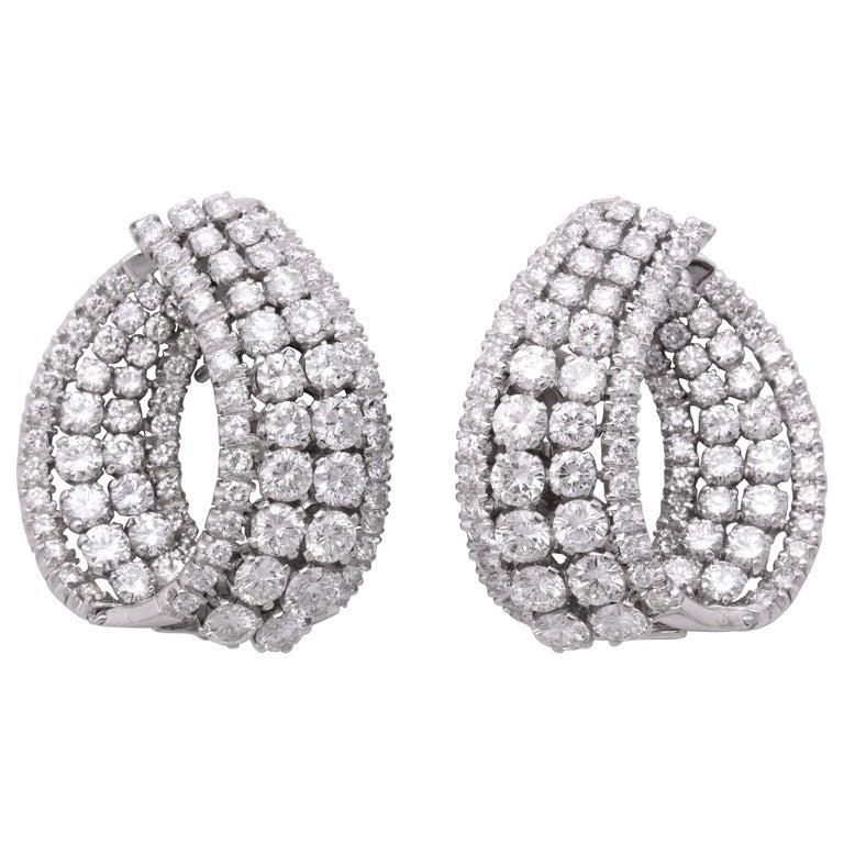 Diamond Swirl Hoop Earrings For Sale