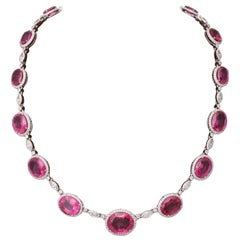 Pink Rubellite and Diamond Necklace