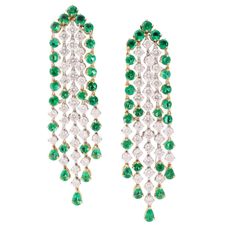 Green Emerald and Diamond Earrings For Sale