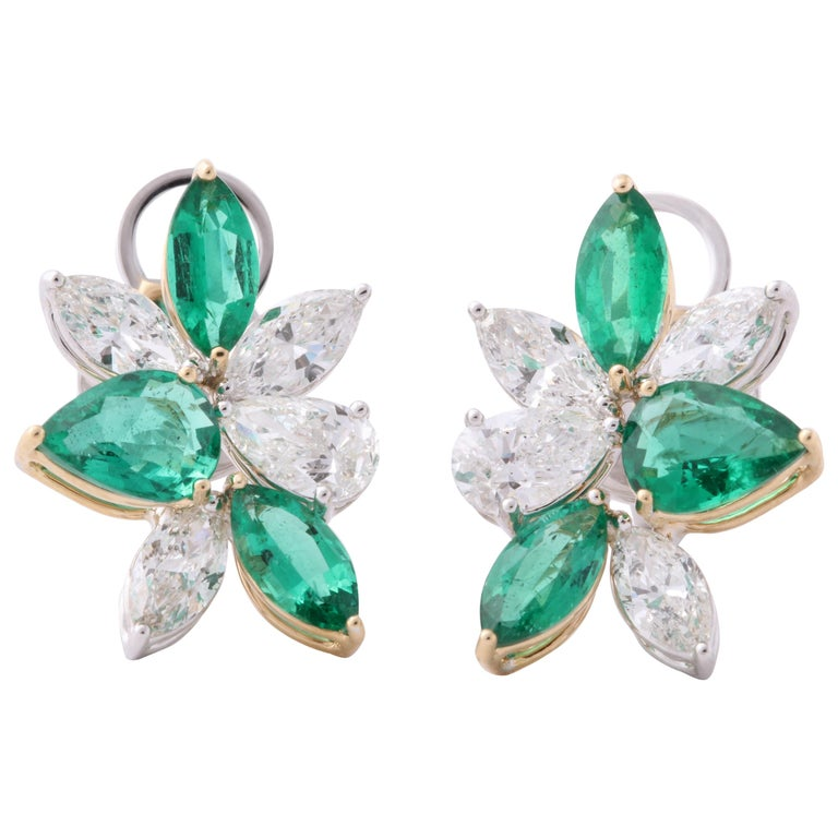 Green Emerald and Diamond Cluster Earrings For Sale