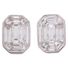 Emerald Cut Diamond Studs Illusion Set