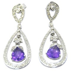 Retro Amethyst Dangle 18 Karat Gold White Gold and Diamonds Earrings