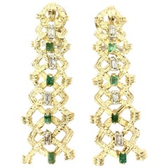 18 Karat Diamond and Emerald Drop Earrings, circa 1960s