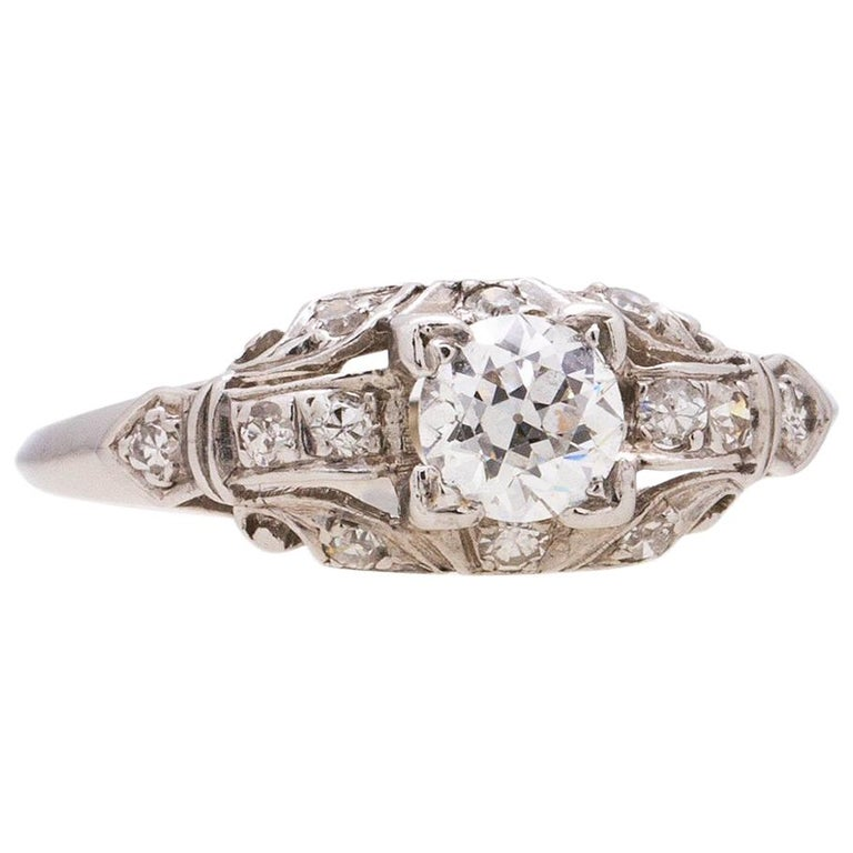 1930s White Gold and Diamond Engagement Ring 0.46 Carat Old European Cut For Sale