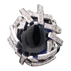 Blue Sapphire White Gold Diamonds Dome Cocktail Ring