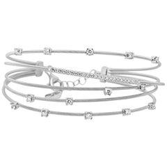 White Diamond Italian Wire Work Five-Row Bangle Bracelet in White Gold