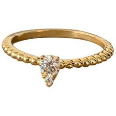 0.20 Approximate Carat Pear Shape Diamond 14 Karat Yellow Gold, Ben Dannie