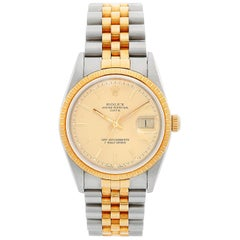 Men's Rolex Date 2-Tone Stainless Steel and Gold Watch 15223