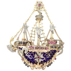 Vintage 14 Karat Enamel Diamond and Sapphire Ship Pendant Brooch