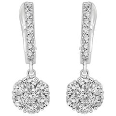 White Diamond Rounds Gold Cluster Dangling Clip-On Earring