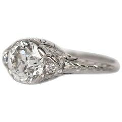 1910 GIA Certified 1.64 Carat Old European Brilliant Cut Diamond Engagement Ring