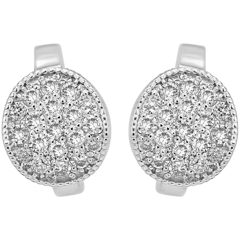 White Diamond Round Gold Clip on Earring with Filigree on Side For Sale