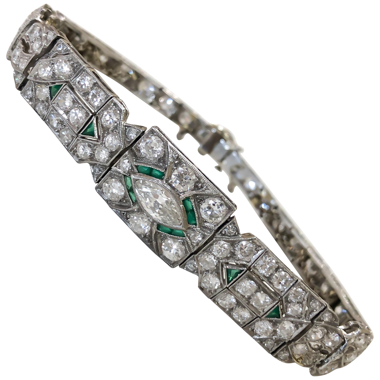 Art Deco 1920s 5 Carat Diamond and Emerald Platinum Bracelet