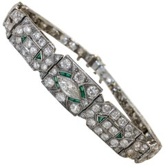 Art Deco 1920s 5 Carat Diamond and Emerald Platinum Bracelet