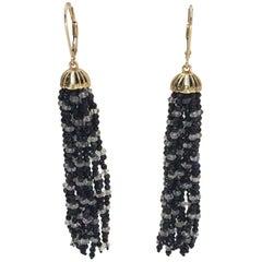 Black Spinel and White Topaz Tassel Earrings with 14 Karat Gold Lever Backs