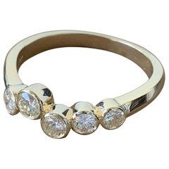 0.75 Approximate Carat Round Diamond Ring Band 14 Karat Yellow Gold, Ben Dannie