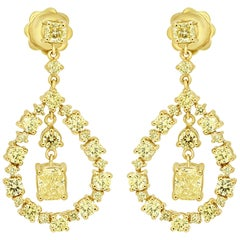 Natural Fancy Yellow Diamond Radiant and Round Yellow Gold Drop Earring