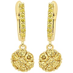 Natural Fancy Yellow Diamond Rounds Gold Cluster Clip on Dangle Earring