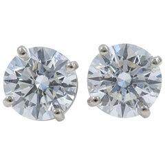 Round Diamond Solitaire Stud Earrings 3.06 Carat 14 Karat White Gold
