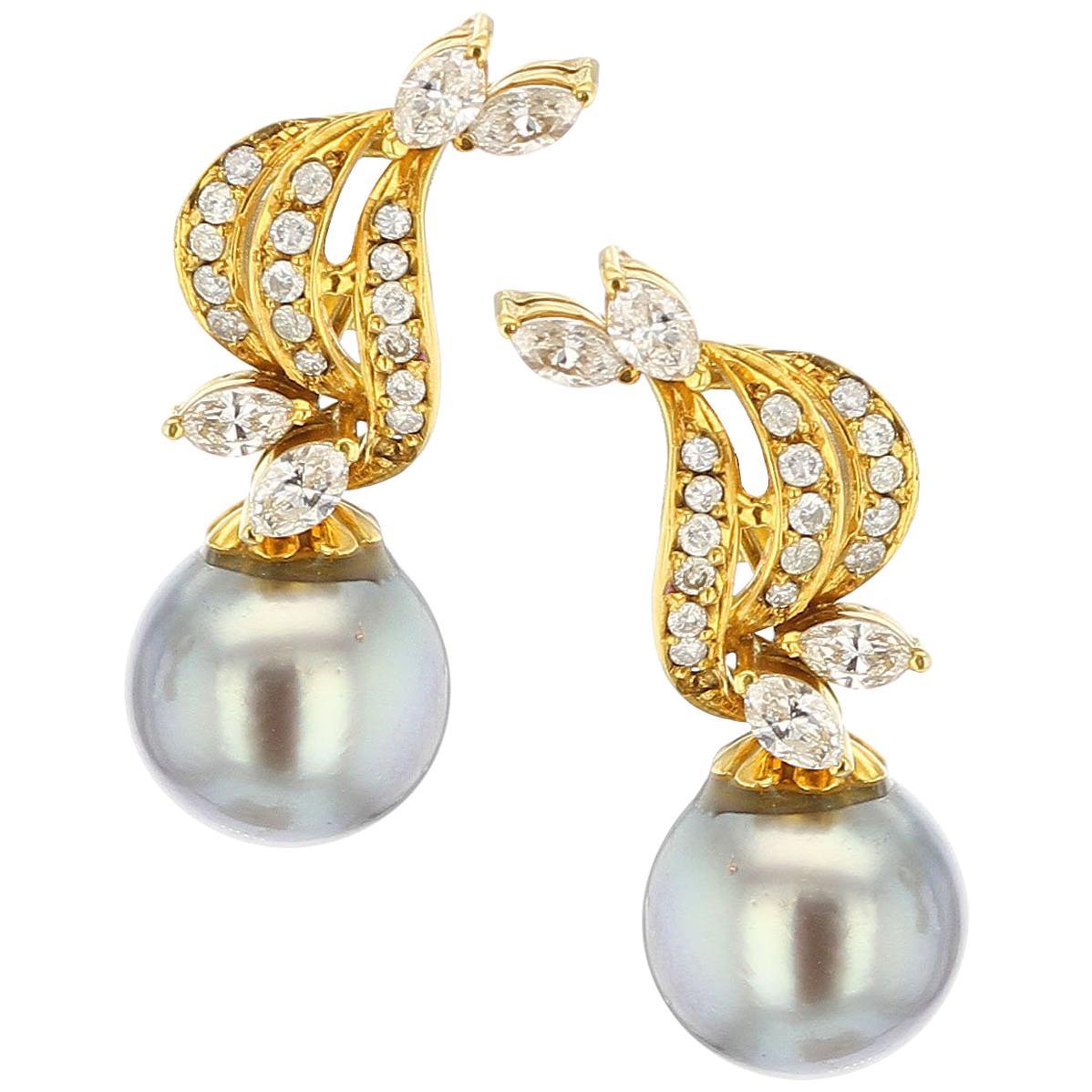 Gray Tahitian Cultured Pearl Diamond Drop Earrings, Detachable, 14K Yellow Gold