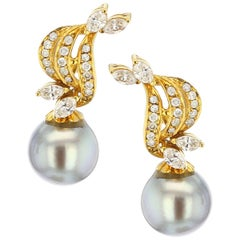 Gray Tahitian Cultured Pearl Diamond Drop Earrings, Detachable, 14K Yellow Gold