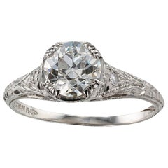 1.00 Carat Art Deco Diamond Solitaire Platinum Engagement Ring